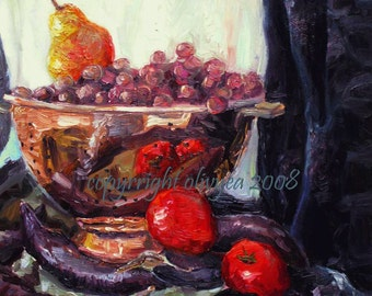 Oil Painting, Still Life, Fruits and Vegetables, Original, Canvas, Traditional, Impressionistic, Impasto... 16 x 20