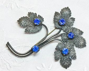 Edwardian,Bold Sparkling, Cobalt Blue, Rhinestone Leaf Spray Brooch, Statement Piece, Spring, Summer Jewellery 1910-1920's