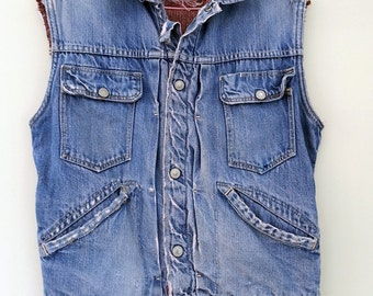 1940s jc penney co. pleated indigo denim vest, oxhide foremost blanket lined, real classic, rare vintage, unisex