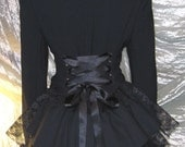 Black Victorian Bustle Jacket Coat Goth Lolita Vampire Steampunk Cosplay 12/14 UK