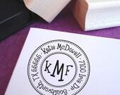 Triple Monogram Customized Address Stamp