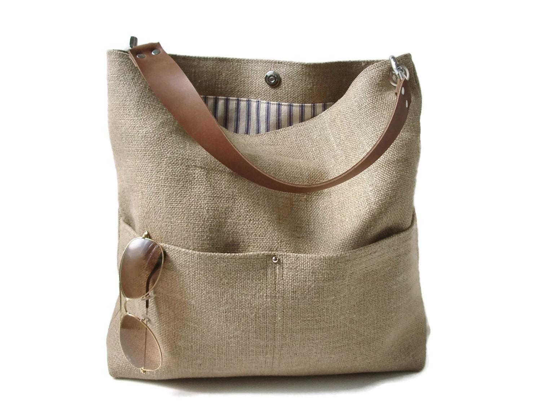 Jute Tote Bag Bucket Bag Beach Bag Casual Tote Bag Summer
