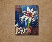"Patriotic Peace Mixed Media Canvas Painting Original  18"" x 24"""