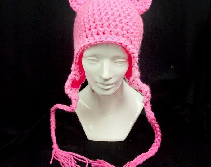 Hot Pink Bear Ears EarFlap Hat