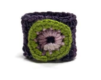 Crochet Ring Fiber Ring Circular Applique Purple Lavender Green On A Purple Fiber Band