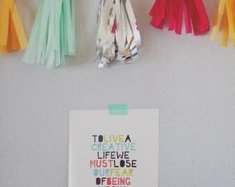 """Hello Cherie 8x10 """"Creative Life"""" Typographic Quote Print"""