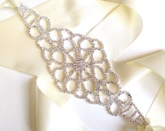 Crystal Wedding Dress Sash in Silver - Rhinestone Encrusted Bridal Belt Sash - Extra Wide Wedding Belt