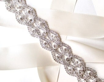 Fantastic Rhinestone Encrusted Bridal Belt Sash - Ivory White Satin Ribbon - Silver and Crystal Wide Wedding Dress Belt - Long