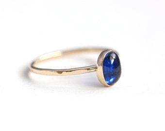 Blue Kyanite Ring in 14k Recycled Gold - Rose Gold or Yellow Gold - MADE TO ORDER