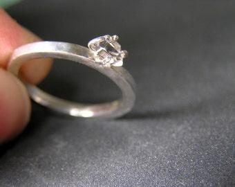 Raw herkimer diamond sterling silver ring. healing crystal ring. Rough Herkimer Diamond