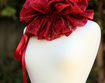 Burgundy Lace Collar - Fashion Neck Ruff for Burlesque or Elizabethan Costume