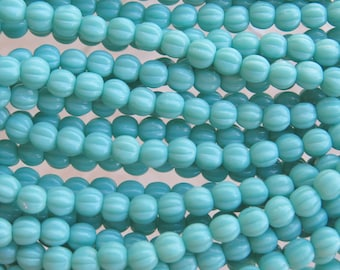 5mm Opaque Turquoise Czech Glass Melon Beads - Qty 50 (BW81)