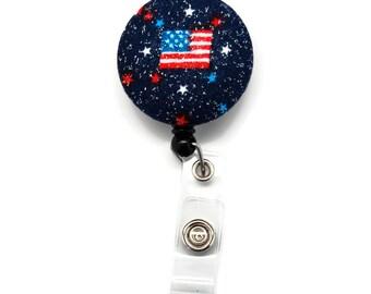 Retractable Badge Holder 4th of July Glitter Flag Badge Reel ID Holder Id Tag Clip - Name Tag Holder Teacher Student RN LPN Nurse