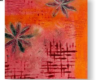 Contemporary flower art prints, pink triptych prints, new zealand art, pink orange art, floral wall art set contemporary floral modern decor