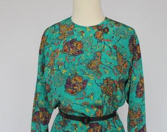 80's  Paisley Dress / Elastic Waist Dress / Long Sleeves / Teal Blue / Liz Claiborne  / XSmall to Small