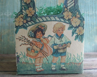 Antique Cardboard Litho Easter Basket Die-Cut Handles Children Bunnies