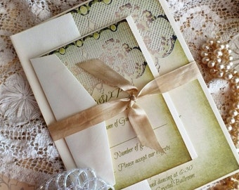 Vintage Romantic Lace Wedding Invitation SAMPLE by avintageobsession on etsy