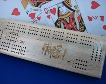 Cribbage, Cribbage Boards, Custom, 3 Players , Wood, Engraved, Personalized Engraving