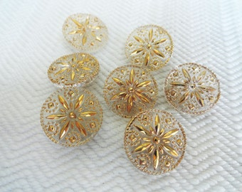 Snowflake Vintage Glass Buttons - Antique 1940s Clear with Gold