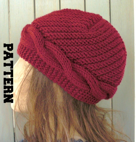 Knitting pattern hat instant download knit hat pattern women