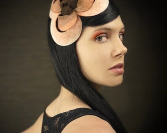 25% Off - Ombre Black/Pink//Cream Felt Headband With Geometric Pattern - Helix Series