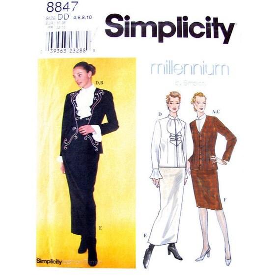 Suit Jacket, Blouse, High Waist Skirt Pattern Simplicity 8847 Womens Size 4 6 8 10