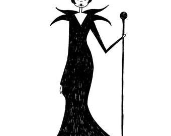Maleficent black and white illustration // 1920s flapper graphic art print