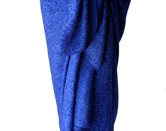 Beach Sarong Swimsuit Coverup Long Sarong Pareo Wrap Skirt Indigo Blue - Womens Swimwear Batik Sarong Hawaiian Beachwear - Surfer Girl Gift