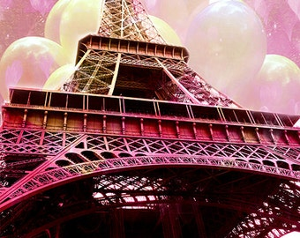 Paris Baby Girl Nursery Decor, Paris Photography, Eiffel Tower Balloons Pink Yellow Print, Eiffel Tower Pink Baby Girl Nursery Decor Photos
