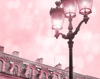Paris Photography, Place Vendome Street Lamp, Paris Street Lights, Dreamy Paris Baby Girl Nursery Decor, Paris Girl's Room Pink Photography