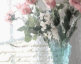 Flower Photography, Impressionistic Roses Prints, Shabby Chic Floral Prints, Romantic Aqua Pink Roses Print, Dreamy Roses Flowers Wall Decor