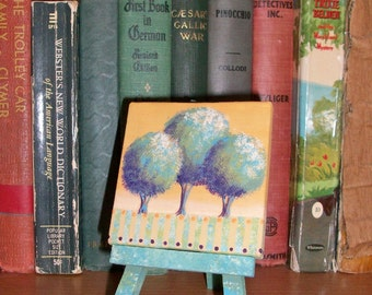 Hand Painted Mini Canvas and Easel | Contemporary Round Trees Landscape