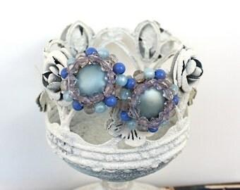 Vintage 50s Karu Arke Earrings Blue Handwired Plastic Beads w Clip Backs