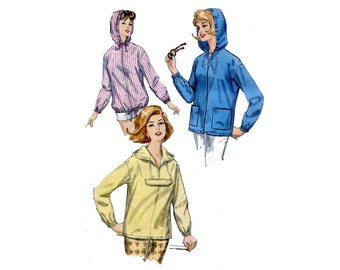 1960s Hooded Jacket Pattern Beach Jacket Parka Kangaroo Pocket Simplicity 5256 Size Medium Vintage Sewing Pattern Pullover or Zip Up