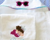 Personalized princess hooded towel