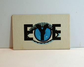 Vintage Flash Card EYE Picture Card Nursery Decor Ephemera Yellow TO Word Flashcard