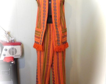 Vintage 60s Vest and Pants Set / Ultimate 1960s Hippie Psych Outfit S - on sale