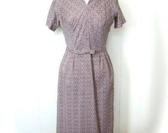 Vintage 50s Dress and Bolero Jacket Set Cocoa and White Check Wiggle Dress S - on sale
