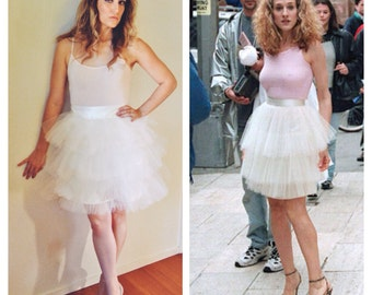 Carrie Bradshaw Tutu Tulle Skirt, 3 layer Ivory Midi –Sex and the City Inspired