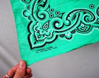 Vintage Green Teal Washfast Cotton Bandana - #S14