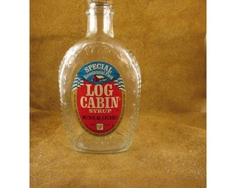 Spirit of '76 Log Cabin Syrup Bottle – Bicentennial Collector Clear Glass Flask – Vintage General Mills Advertising