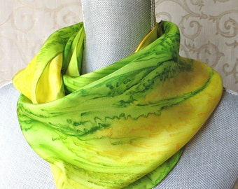 Handpainted Silk Scarf in Lime and Yellow