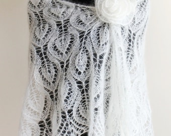 made to order bridal knitted lace ivory shawl in mohair and silk