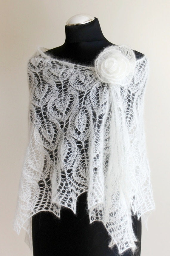 Wedding Lace shawl, Handknitted Bridal Shawl, Ivory stole, Mohair with Silk Bride Wrap, Ivory Mohair Shawl, Marriage Stola