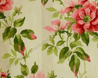 antique french art deco wallpaper roses illustration  digital download