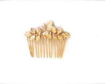 Golden Rose Comb, Floral Hair Comb, Wedding Hair Comb, Bridal Hair Comb, Gold Comb, Bridal Hair Accessory, Bridesmaid comb