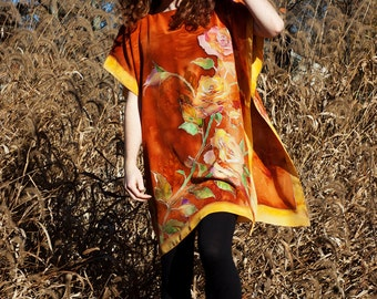 Silk Tunic Western Rose Autumn Colors Burnt Orange Fall Dress Kimono Caftan Hand Painted Silk Blouse Kaftan  Custom Order