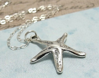 Starfish Necklace, Sterling Silver Starfish Charm on a Silver Cable Chain