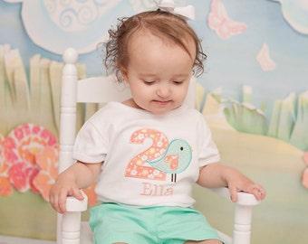 Bird Birthday Shirt - Bird Girls Birthday Shirt - Coral and Mint Birthday Shirt