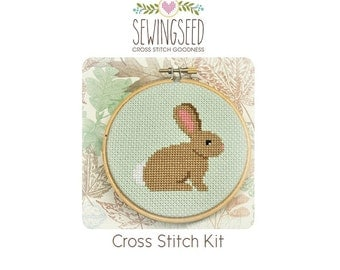 Bunny diy Cross Stitch Kit, DIY Kit, Embroidery Kit, Spring, Nursery, Easter
